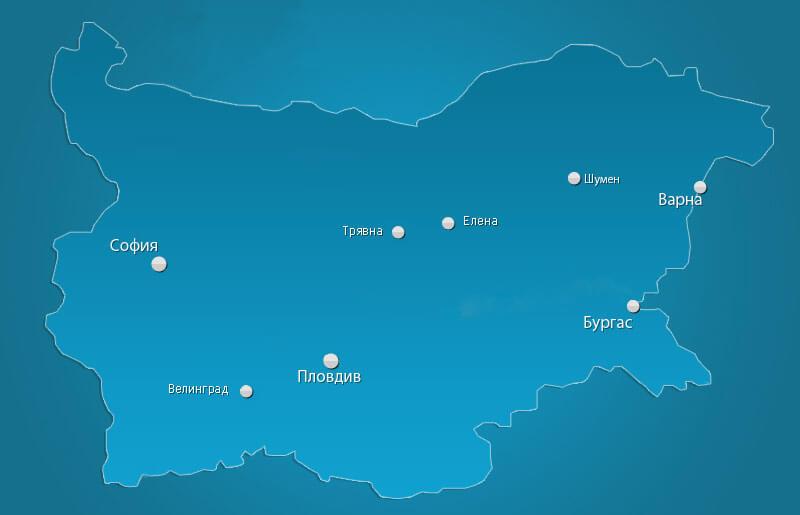Карта с обектите на Биотех